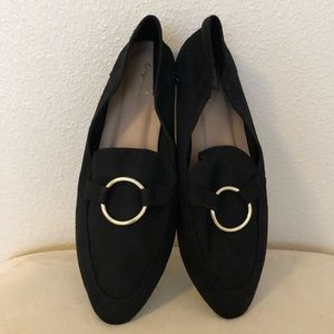 NwoB Qupid Women's Loafers Black UK 8 Gold Ring